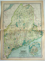 Original 1911 Map of Maine by The Century Company