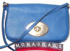 Coach Denim Blue Pebble Leather Turn Lock Crossbody Pouch Bag F52896 NWT $195