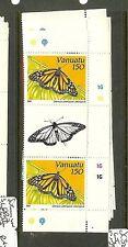 VANUATU (B1901)  BUTTERFLY SC32-5   GUTTER PAIRS     MNH