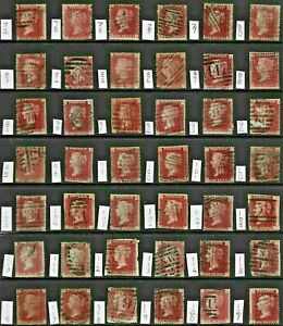 GB 1864-79 Victorian 1d PENNY RED Stamp COLLECTION PL between 72-121 REF:QV861a