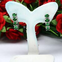 NATURAL 3 X 4 mm. OVAL GREEN TSAVORITE GARNET & CZ EARRINGS 925 STERLIGN SILVER
