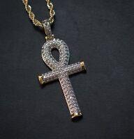 10k Yellow Gold Mens Round Diamond Ankh Cross Pendant Charm And Rope Chain