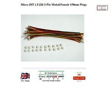 10x Pairs Micro JST 1.5 ZH 3-Pin Male&Female Connector Plugs 150mm Wires RC UK