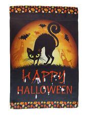 """12x18 12""""x18"""" Happy Halloween Black Cat Moon Night Vertical Sleeve Flag Garden"""