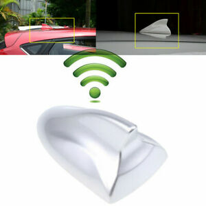 Gloss Silver Car SUV Roof Shark Fin Antenna Radio AM/FM Aerial Cover Universal
