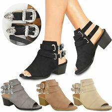 Womens Ladies Western Cowboy Sandals Ankle Boots Chunky Block Heels Buckle Size