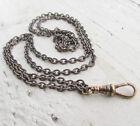Vtg lanyard necklace Brass Bronze dark chain long 29
