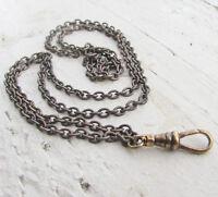 10pc Lot! Vtg lanyard chain necklace Handmade oxidized dark brass bulk bundle
