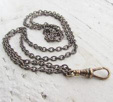"""Vtg lanyard necklace Brass Bronze dark chain long 29"""" charm holder steampunk"""