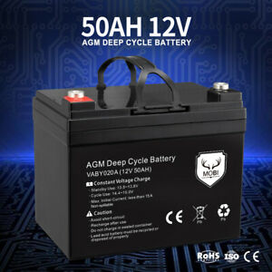MOBI 50AH AGM Battery Deep Cycle 12V Mobility Scooter Camping Golf Cart Volt