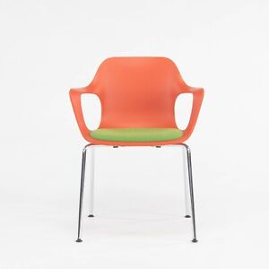 2020 Jasper Morrison Hal Tube Stacking Armchair by Vitra in Orange and Chrome