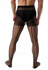 Mens Black Fishnet Stockings Crotchless Gay Interest Tights Line Detail