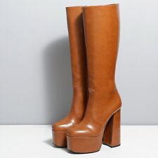 Ellie Tailor Emmy Plateau High Heel Knie Stiefel Knee Boots Braun 42 43 44 45 46