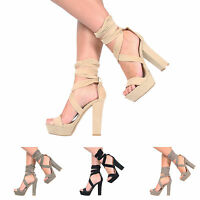 NEW WOMENS LADIES BLOCK HIGH HEEL PLATFORM ANKLE STRAP PARTY SANDALS SHOES 3-8