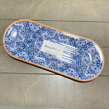Tommy Bahama Blue Spanish Medallion Melamine Rectangular Slider Serving Tray