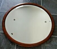 Antique Early 20th C Edwardian Oak Framed Oval Wall-Hanging Mirror Beveled Edged