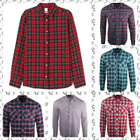 Men's D&H Long Sleeves Check Flannel Cotton Christmas Winter Casual Shirt Tops