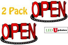 "Lot of 2 Led Open Sign 19""x10.75"" Neon Alternative for Storefront + Ul Power"
