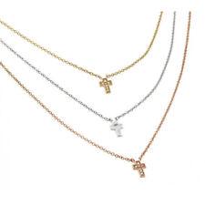 Серебро .925 пробы золото и розовое золото покрытием прозрачный цирконий крест кулоны, ожерелье