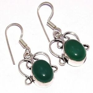 "GREEN ONYX & 925 SILVER PLATED EARRINGS 1.3"", S-625"