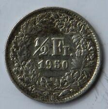Schweiz 1/2 Franken 1950, Münzzeichen B, Silbermünze