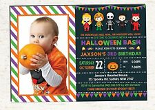 Halloween Birthday Invitation Pumpkin Party Invite Spooky Card Kids Supplies