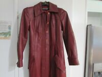Vintage Classic Real Leather Gothic Coat Ladies Full Length Coat Ox Blood Size S