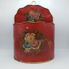 Vintage Red Painted Tole Box with Flower Painting