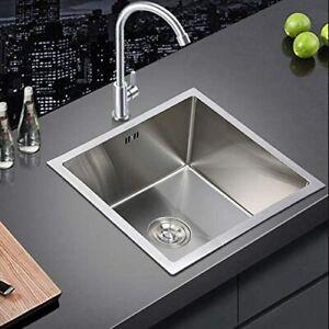 44×44cm Stainless Steel Square Kitchen Undermount Sink Single Bowl Drainer