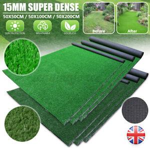 15mm Artificial Grass Garden Turf Offcut Roll End Realistic Turf Lawn Fake