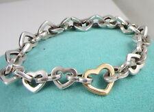 Tiffany & Co Rare Sterling Silver 18k Yellow Gold Heart Link 34.6 Gram Bracelet