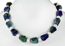 Beautiful Necklace in Azurite-Malachite Faceted Free-Form with freshwater pearls
