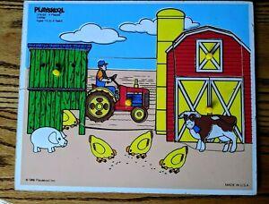 Farm 4 piece pressed board vintage puzzle by Playskool, ages 1 1/2-4, #379-03
