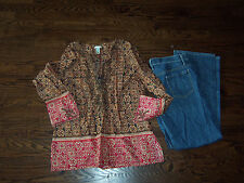 TALBOTS 14 Signature boot cut STRETCH jeans Old Navy L Lg blouse large top LOT