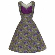 LindyBop Ophelia Beautiful Romantic Floral Print Green Purple 50s Swing Dress 8