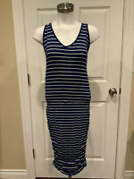 Athleta Navy Blue & White Striped Long Fitted Athletic Dress, Size Medium