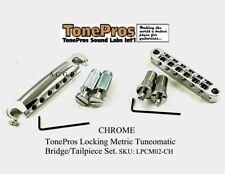 TonePros METRIC Pre-Notched Bridge & Tailpiece Set - CHROME LPM02/C