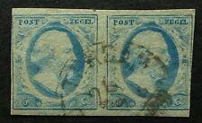 NVPH 1 PAARTJE positie 6-7 met HALFROND lichtblauw Used pair Cancel