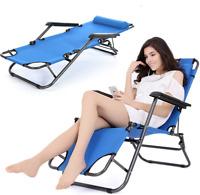 Folding Zero Gravity Chaise Lounge Patio Reclining Beach Chair Lawn Recliner
