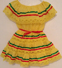 """NEW Beautiful Mexican Yellow  """"Fiesta"""" Girls Dress 2 or 3 yrs. old (N17-home)"""