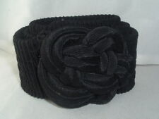 Vintage Black Material Stretch Belt