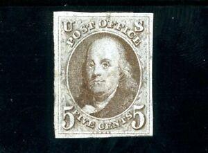 USAstamps Unused VF First US Stamp 1847 Franklin Imperforate Scott 1 OG MHR