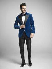 Men's Blue Velvet Designer Bespoke Wedding Tuxedo With Black Peak Lapels NEW US