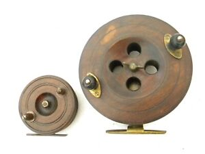 Vintage Hardwood and Brass fishing reels