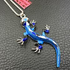 New Fashion Betsey Johnson Blue Enamel Lizard Gecko Necklace Sweater Chain