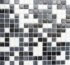 1 QM 2x2 Mix weiß grau schwarz Glasmosaik A125qm