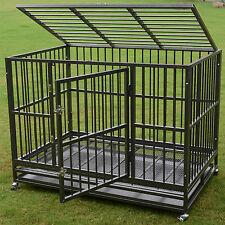 "2 Door 48"" Heavy Duty Dog Cage Crate Kennel Metal Pet Playpen Portable w/ Tray"