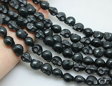 10pcs Black Turquoise Carved Skull Loose Spacer Beads Jewelry Finding 9x7MM DIY