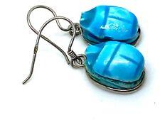 Genuine Vintage Egyptian Silver Blue Faience Scarab Earrings