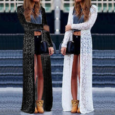 UK Women Lace Sheer Crochet Long Sleeve Clubwear Kimono Coat Cardigan Maxi Dress